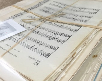 Vintage Music Craft Papers // Antique Music Book Pages // Musical Note Pages // Music Sheets // Decoupage Paper // Origami Papers