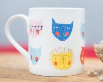 Cat faces Bone China mug