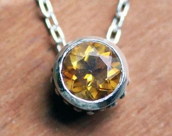 Citrine necklace, citrine pendant, November birthstone necklace, bezel necklace, slide necklace, eco friendly, wrought, ready to ship