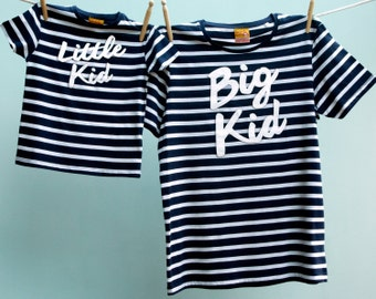 Dad & Son or Daughter Matching T Shirt Big Kid, Little Kid Twinset - Breton tshirt Navy White / Cream organic
