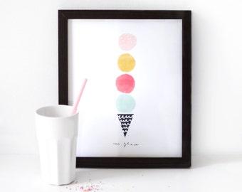Ice-cream Illustrated Art Print - une glace