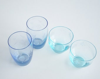 Vintage  Juice Glasses Turquoise and Blue Drinking Glasses Set of 4 Butterfly and Grapes Wheel Cut Design