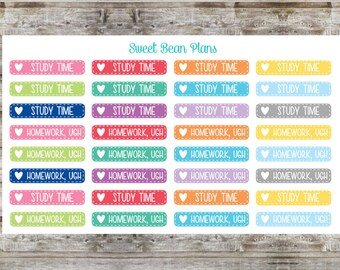 32 Homework/ Study Time Planner Stickers