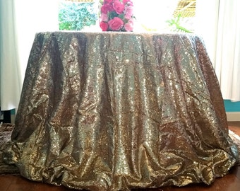 Ship Immediately: Champagne-Gold Sequin Tablecloth, Champagne-Gold Sequin Tablecloth