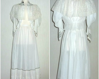 Antique 1900s 1910s Edwardian Cotton and Lace White Day Dress Size XS 2 pieces