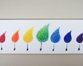 Rainbow Matchstick Trees // Rainbow Painting // Tree Painting