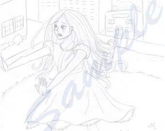 Frightened Manga Girl Coloring Page