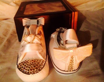 Baby bling converse, baby bling booties, baby bling crib shoes, Swarovski crib Shoe