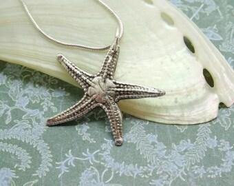 Starfish pendant, silver starfish necklace, sea star, sand dollar ~ summer jewellery,  beach wedding, gift for partner,