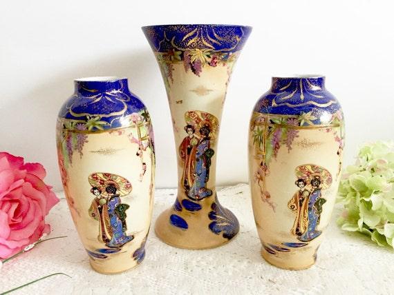 Vintage Kiralpo Ware England Hand Painted Vases Oriental