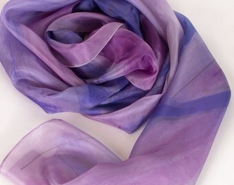 Hand painted silk scarf Lilacs Still Life Long abstract scarf painted by hand Light purple scarf shawl Radiant orchid scarf Silk painting