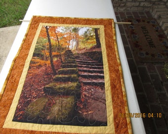 Fall Wall Hanging Quilted,  Fall Table Topper, Blue Ridge Parkway,  Fall Table Runner, Fall Scene, Quilted Table Cloth, Table Runner