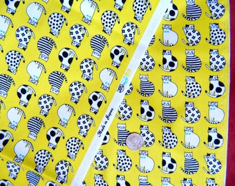Cats On Yellow By Oxford Fabrics Japan