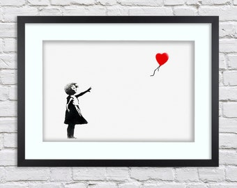 Banksy - White Balloon Girl -  Large Mounted & Framed Poster Art Print A2 - 31 x 24 Inches  ( 75 x 61 cm )