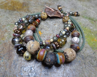 Bohemian bracelets multi ranks, semi-precious stones, spun glass and Bohemian glass, beads picasso, copper and other beads