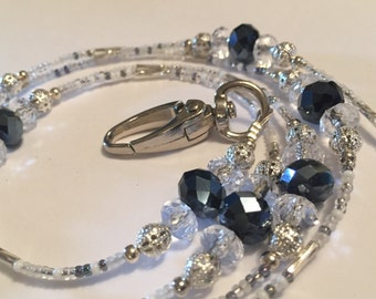 Blue & clear Crystall Rondelles combined with silver filigree beads and grey white seed bead Lanyard