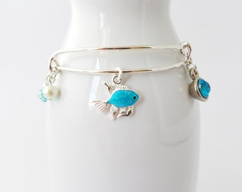 Aqua glittery goldfish on an adjustable bangle bracelet - ocean - sea - sand - surf - nautical - beach