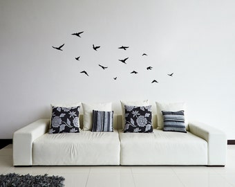 Flying Birds Wall Sticker | Flock of Birds wall decal | Wall Decor | Removable Above Lounge Wall Art