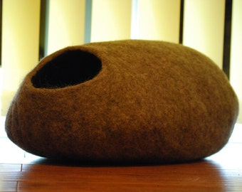 Cat cave handmade felted from 100% Natural sheep wool