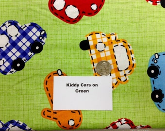 Kiddie Cars on Green Fabric - 1 and 1/2+ Yards