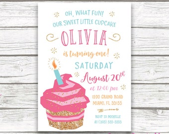 Cupcake Birthday Invitation, Cupcake Invitation, First Birthday Invitation Girl, Cupcake First Birthday Invitation, Cake Printable Invite