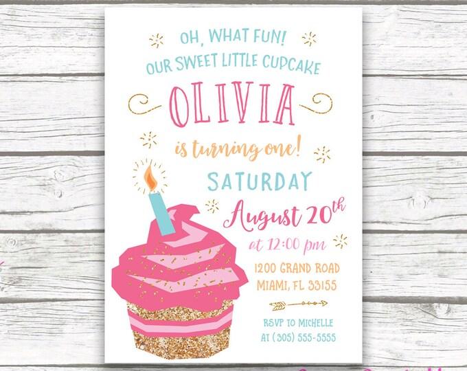 Cupcake Birthday Invitation, Cupcake Invitation, First Birthday Invitation Girl, Cupcake First Birthday Invitation, Cake Printable Invite