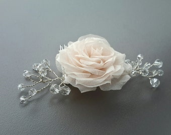 Wedding Hair Flower Comb Bridal Pink Rose and Crystal Hair Accessories Rose Flower Hair Piece Bridal Hair Flower Comb