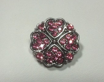 20mm PINK HEARTS Snap Button....great snap!!! metal...rhinestones..