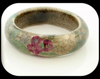 Estate HEAVY Rose Flower Painted Marble Stone BANGLE BRACELET 81.47GR
