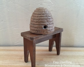 Miniature Bee Skep, Miniature Beehive, Dollhouse Bee Skep, Dollhouse Garden, Miniature Garden