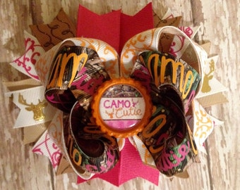 Camo Cutie pink, orange, and camo bow