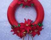 RED Christmas Wreath, Red Holiday Wreath, Luxurious Wreath, Poinsettia Wreath, Christmas Door Wreath, Christmas Decor