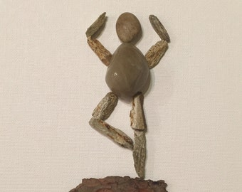 Pebble Art Mixed Media Collages- UNFRAMED YOGA POSE