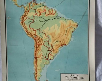 Vintage pull down chart Middle and South America school map school chart industrial R. Bos