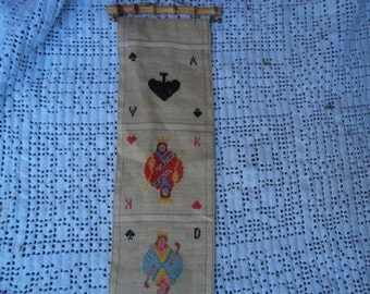 Vintage needlepoint beel pull with playing cards!