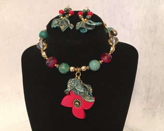 Polymer clay flower necklace with matching earrings handmade jewelry set.