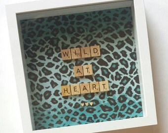 Personalised Scrabble Frame Wall Art Artwork Birthday Gift Present Home Decor Homewares Animal