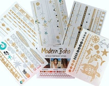 5 Sheets Beach Body Collection Metallic Flash Temporary Tattoos Gold and Silver By Modern Boho - FREE SHIPPING in the USA