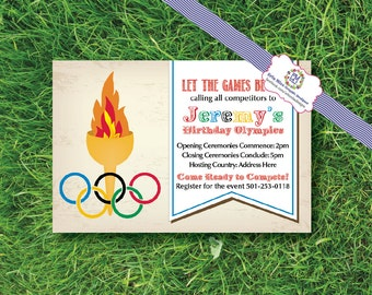 Let the Games Begin, Olympic themed, party, birthday, invitations, torch
