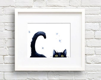 Sneaky Black Cat - Art Print - Wall Decor - Watercolor Painting