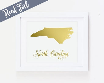 North Carolina Art Print, State Art, North Carolina, Gold Foil Print, Silver Foil, Copper Foil, Gold Wall Art, Real Gold Foil, Metallic Art