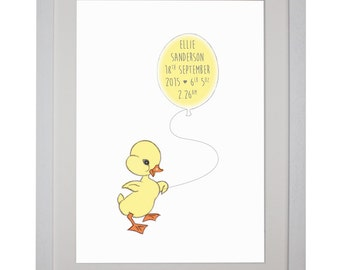 Nursery art, New Baby Keepsake Art - cute Baby Chick drawing personalised for new baby boy or girl - Nursery Art Kids Home decor