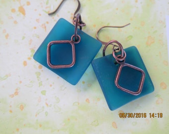 square teal blue beach glass earrings
