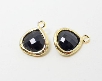 G002202/Jet/Gold plated over brass/Small teardrop faceted glass Pendant/11x13mm/2pcs