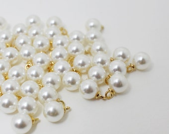 P0422/Anti-tarnished Gold Plating Over zinc alloy + Artificial Pearl/8mm Artificial Pearl Pendant Medium/8mm/10pcs