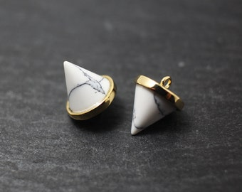 P0227/Anti-Tarnished Gold Plating Over Brass/Genuine White Marble Circular Cone Pendant/10x12mm/2pcs