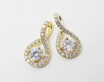 P0158/Anti-Tarnished Gold Plating Over Brass/Infinity Cubic Zircon Connector/19x10mm/2pcs