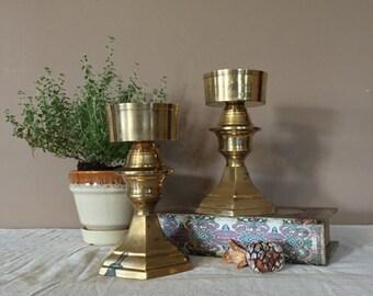 Pair of Vintage Brass Candlesticks / Brass Candle Sticks / Brass Candle Holders / Wedding Candlesticks / Brass Candleholders / Brass Ca