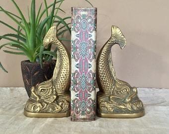 Vintage Koi Fish Brass Bookends / Brass Fish Bookends / Vintage Brass Bookends / Mid Century Brass Bookends / Brass Fish