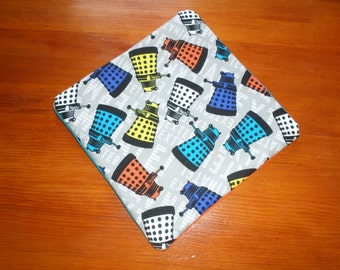 Multicolored Dalek pot holder